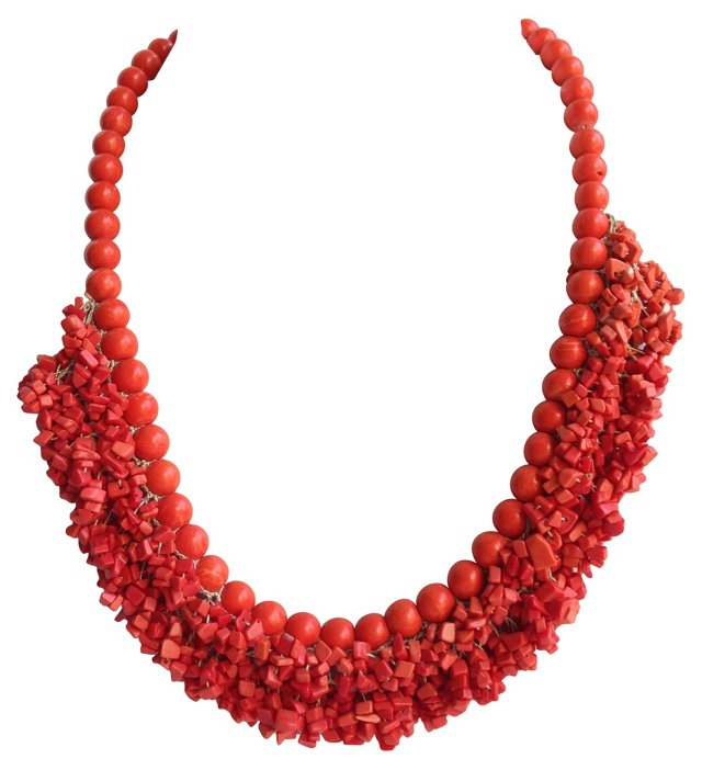 Coral Fringe Necklace