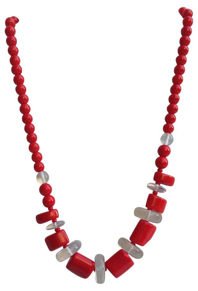 Red Mod Czech Glass Necklace
