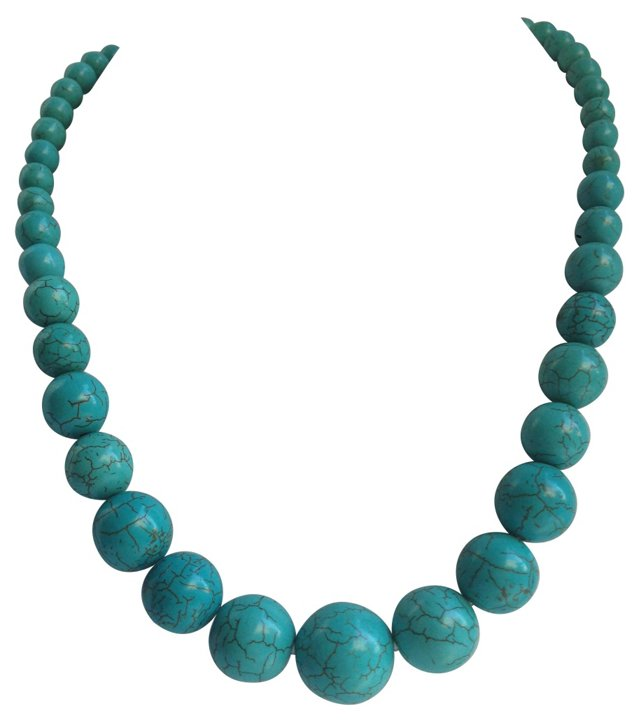 Turquoise Howlite Bead Necklace