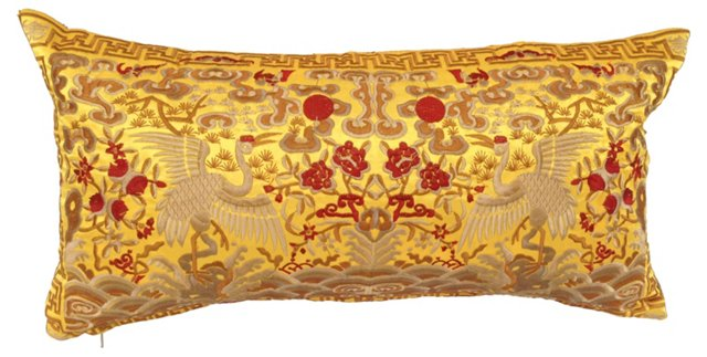 Silk Asian Crane  Boudoir    Pillow