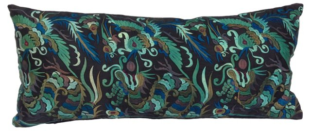 Embroidered Silk Dragon Bird Pillow