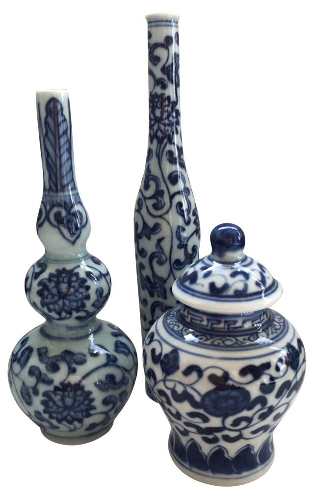 Blue & White Chinese    Vases, S/3