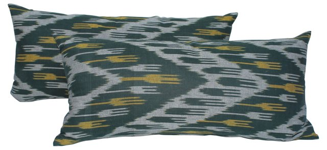 Ikat Tassel Body Pillows, Pair