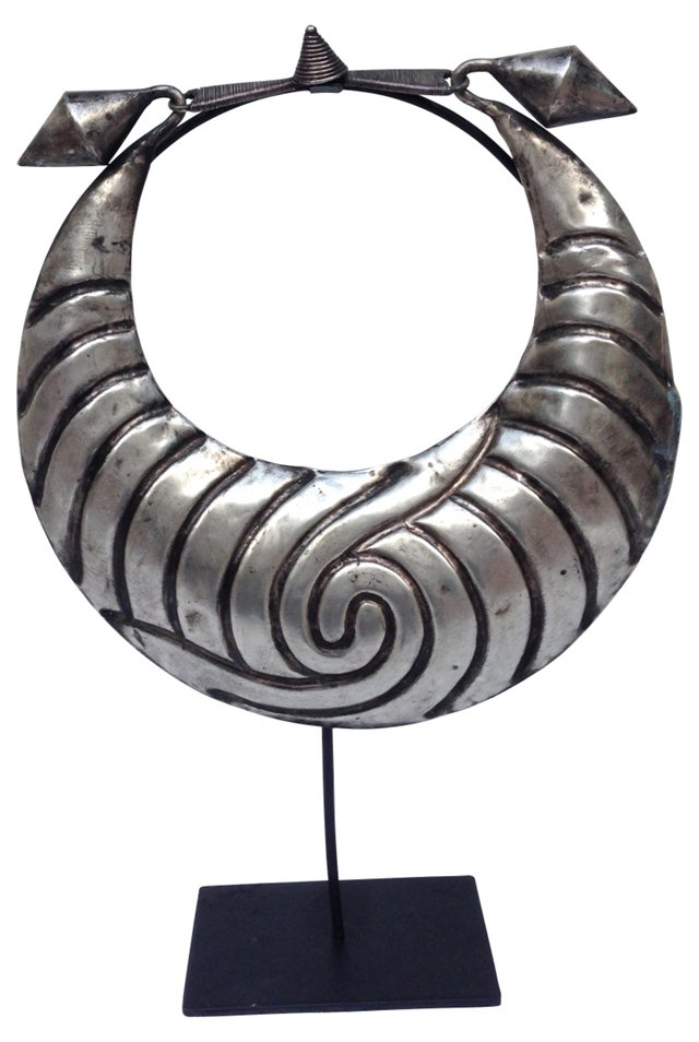 Tribal Metal Necklace  on Stand
