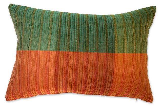 60s Raw Silk  Textile  Pillow