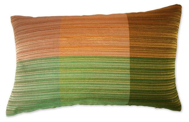 Pillow w/ 1960s  Raw Silk  Textile