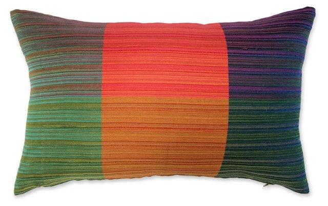 Pillow w/ Multicolor 1960s Raw   Silk