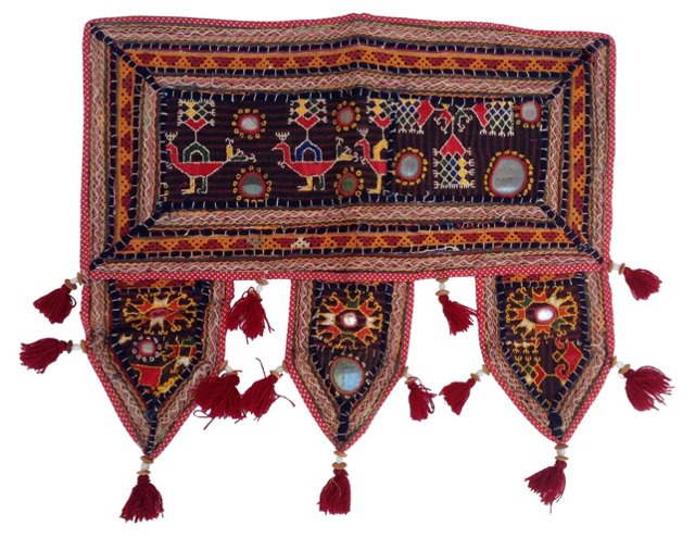 Indian Embroidered Mirror Textile