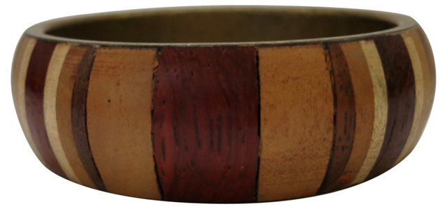 1970s Wood-Inlay Brass Bangle