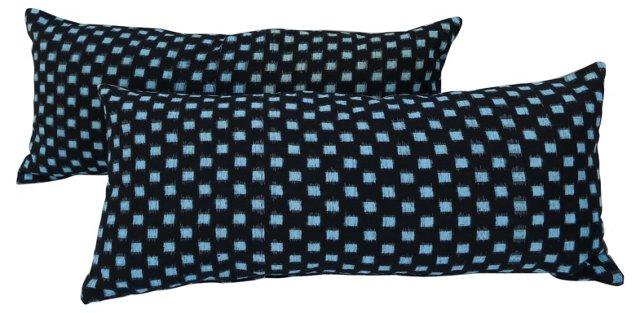 Japanese Ikat Indigo Lumbar    Pillows