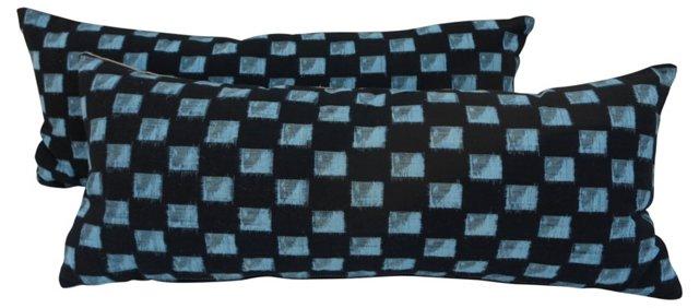 Japanese Ikat Indigo       Pillows, Pair