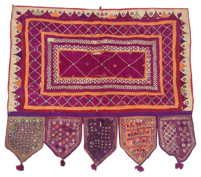 Indian Embroidered Mirrored     Valance