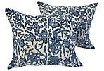 Antique Batik Indigo Butterfly Pillows