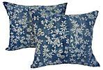 Indigo Floral & Bamboo Batik Pillows