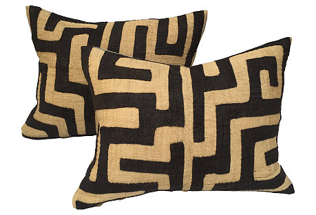 African Kuba Maze Pillows, Pair
