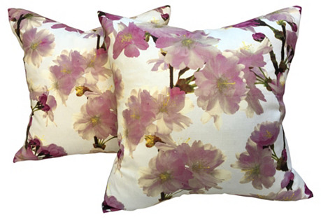 Dogwood Floral Pillows, Pair