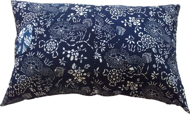 Foo Dog Batik Indigo Pillow