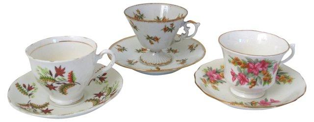 Teacups & Saucers, Set of 3