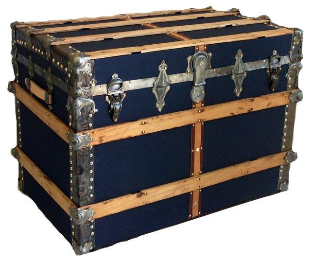 Antique Blue Carriage Trunk