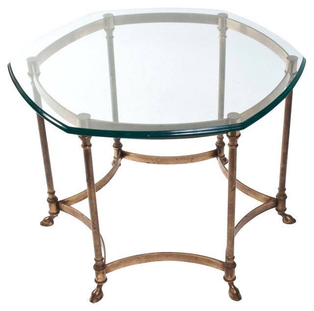 Hollywood Regency Glass-Top Side Table
