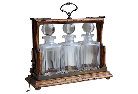 Antique Tantalus Decanter Set