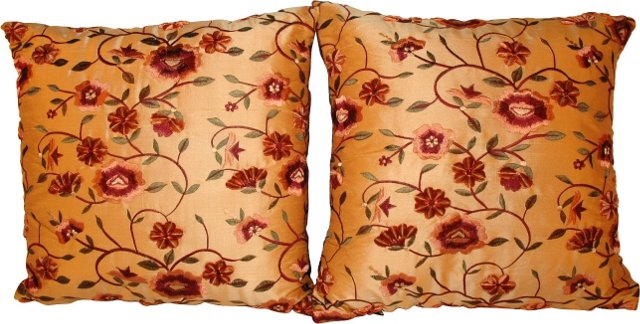 Embroidered Pillows, Pair