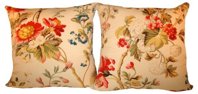 Italian Fabric Pillows, Pair
