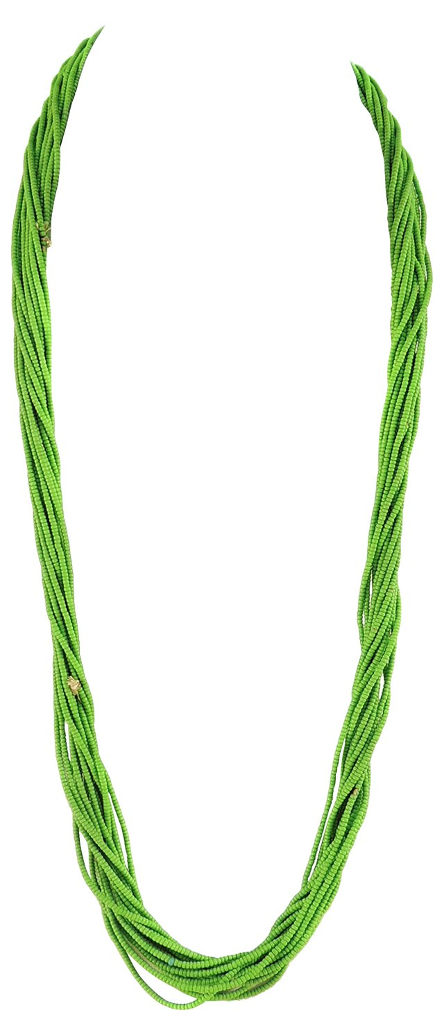 Green Baule Tamba Seed Bead Necklace