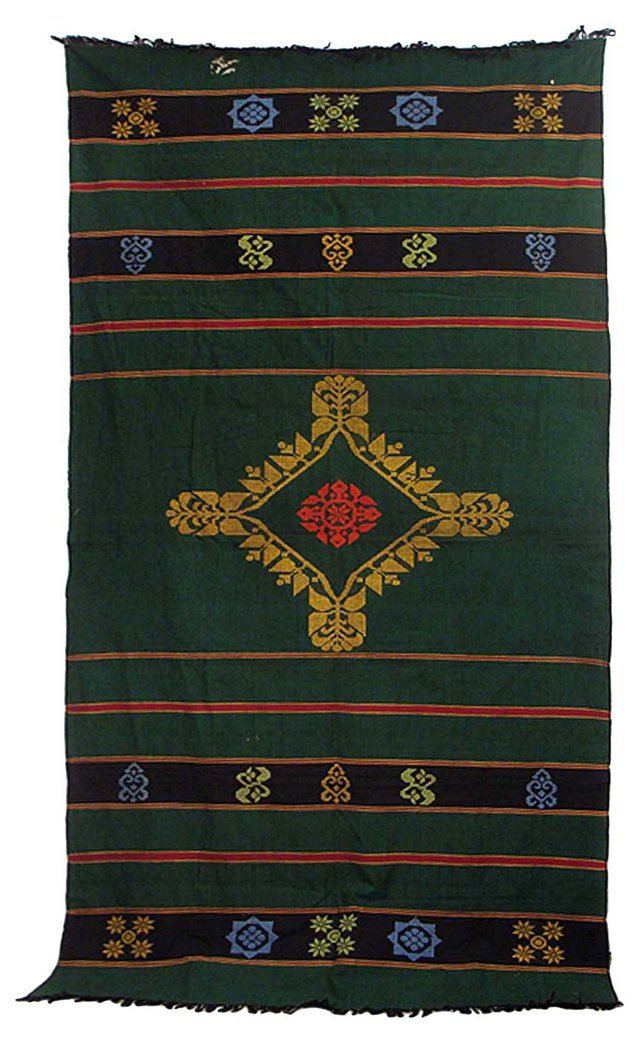 Embroidered Green Cotton Textile