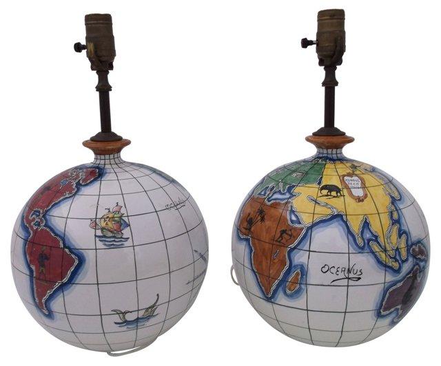 Italian Ceramic Globe Lamps, Pair