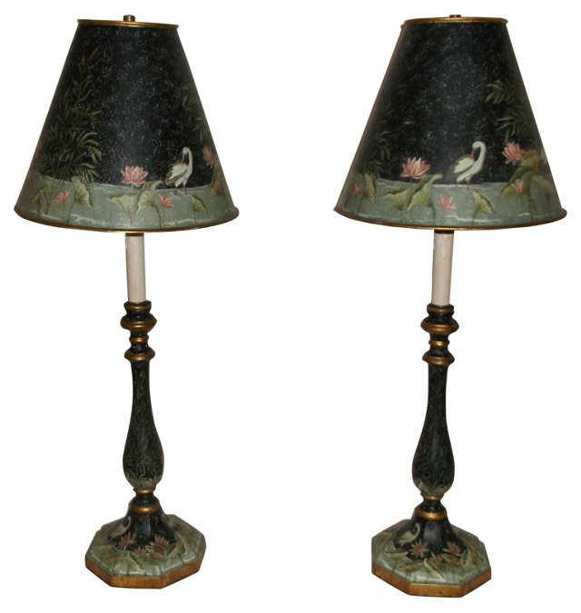 Hand-Painted Tole Lamps, Pair