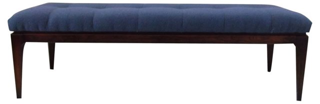 Midcentury Bench w/ Blue Knoll Fabric