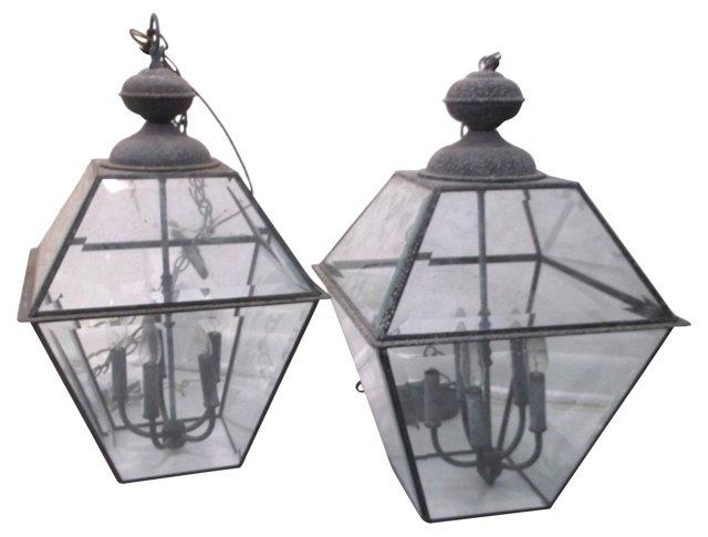 Metal & Glass Lanterns, Pair