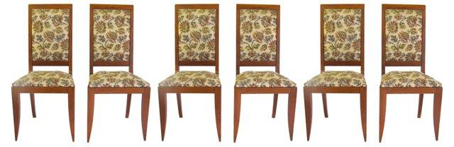 High-Back  Oak Chairs, Set  of 6