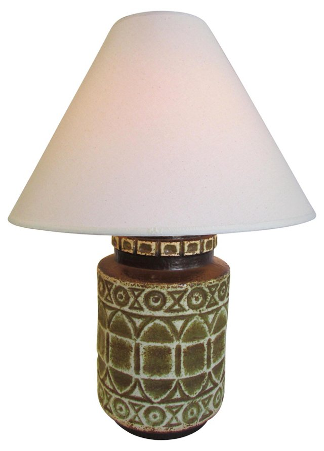 1970s Brown Ceramic Lamp