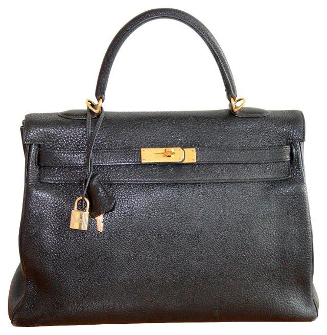 Hermès Kelly Black Togo Handbag, 35cm