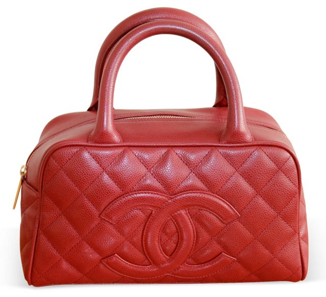 Chanel Red Caviar  Leather Handbag