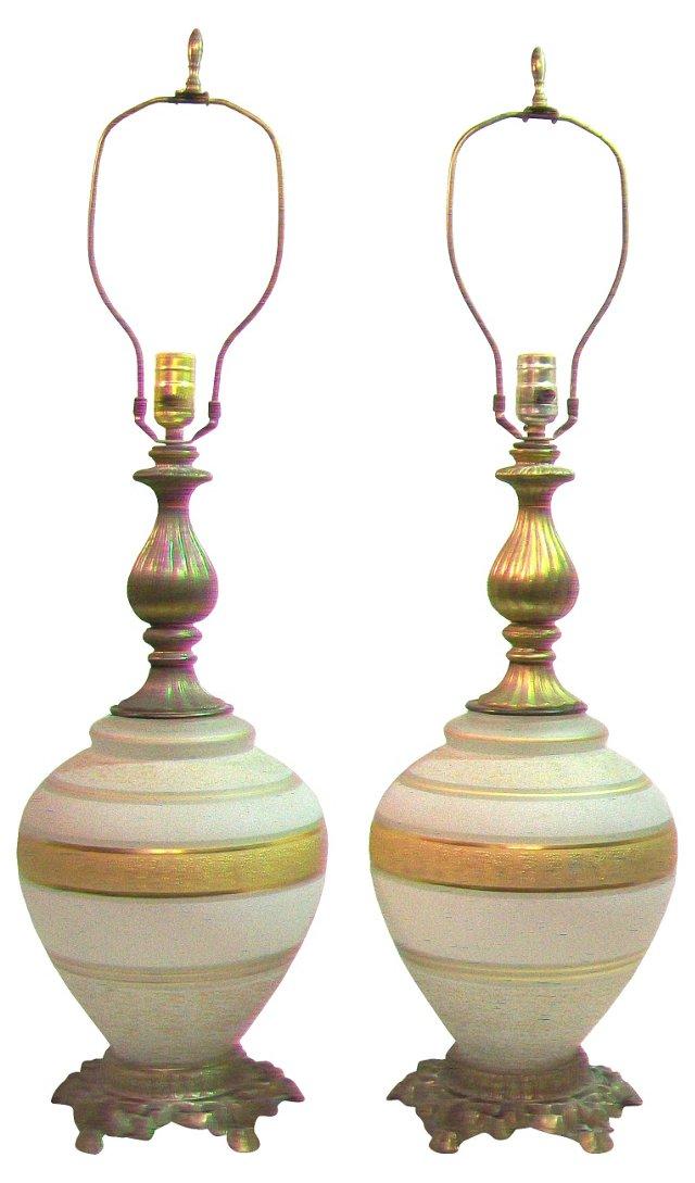 Hollywood Regency Gilt Lamps, Pair