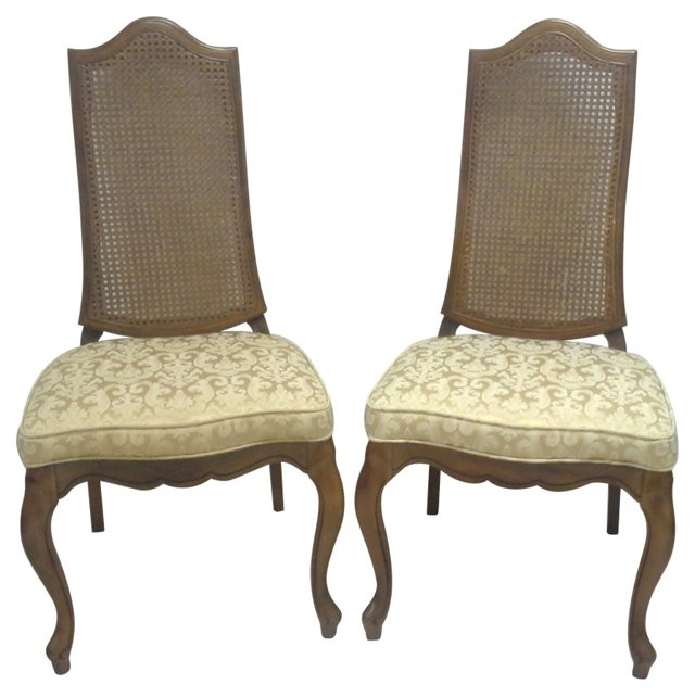 French Caned-Back Chairs, Pair