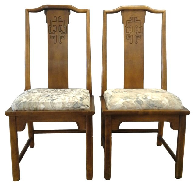 Asian-Style Side Chairs, Pair