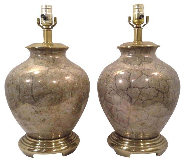 Chinoiserie Ceramic Lamps, Pair
