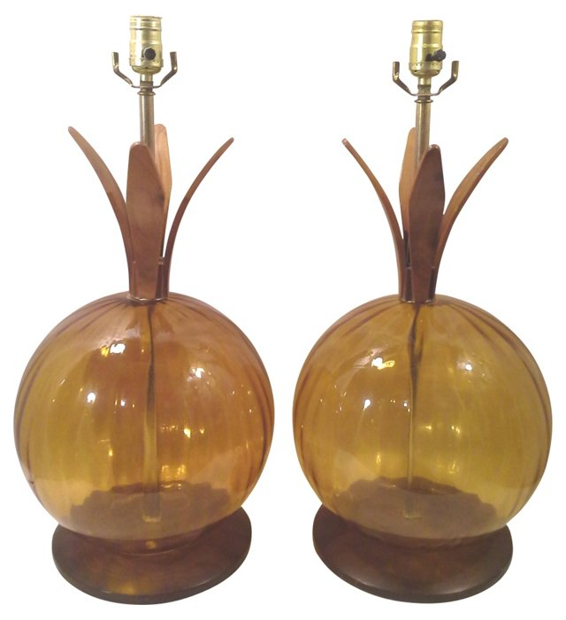 Gold Glass Sphere Lamps, Pair