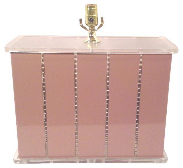 Lucite & Pink Large Rectangular Lamp