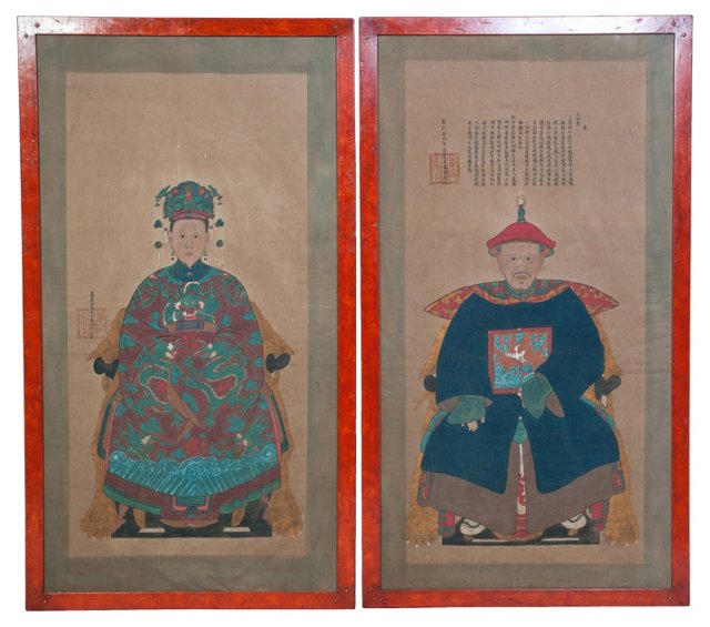 Chinese Ancestral Portraits, Pair