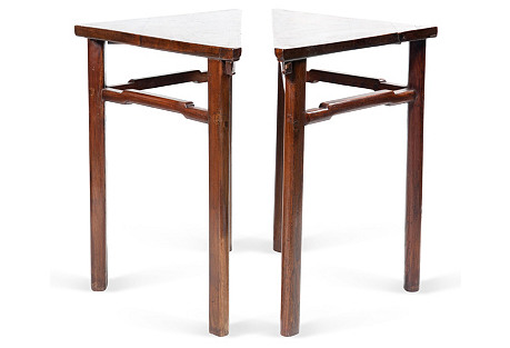 Antique Trianglular Tables, Pair