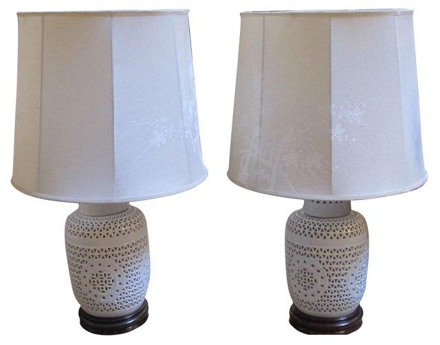 Blanc de Chine Lamps, Pair