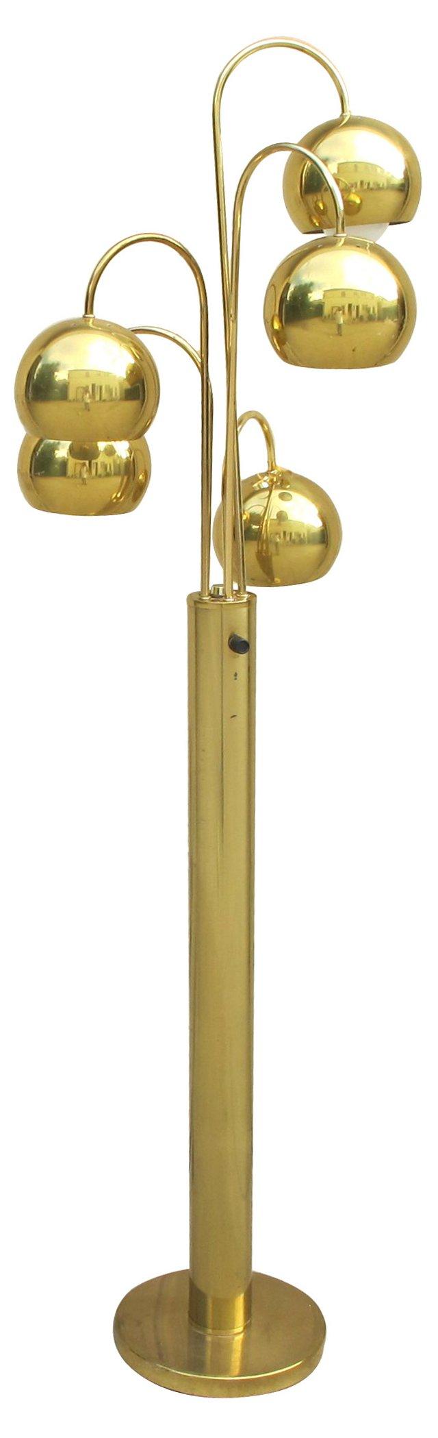 1960s 5-Light Brass Floor Lamp