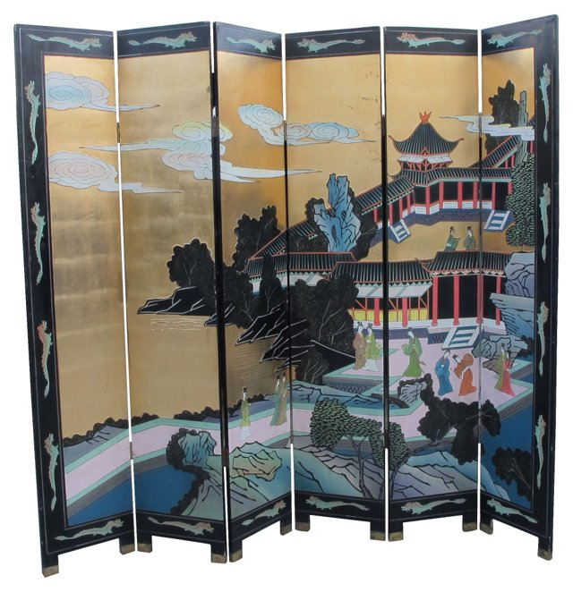1950s Japanese 6-Panel Screen