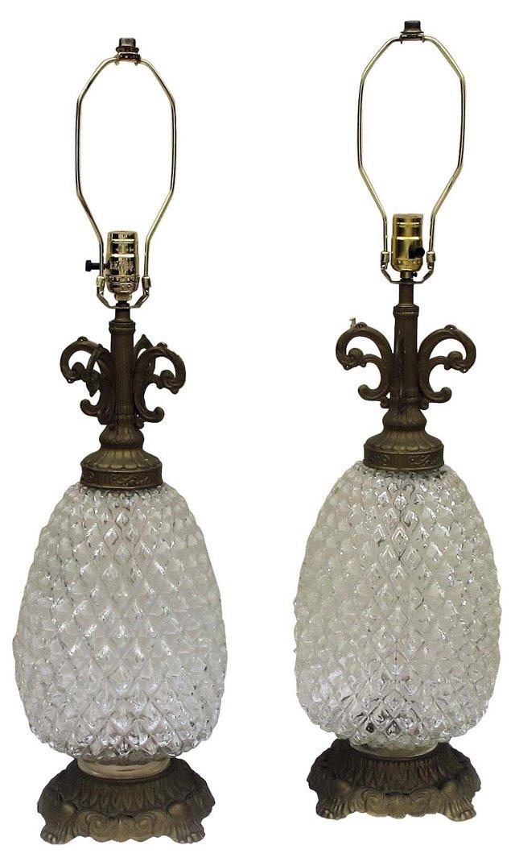 Cut-Glass Pineapple Lamps, Pair