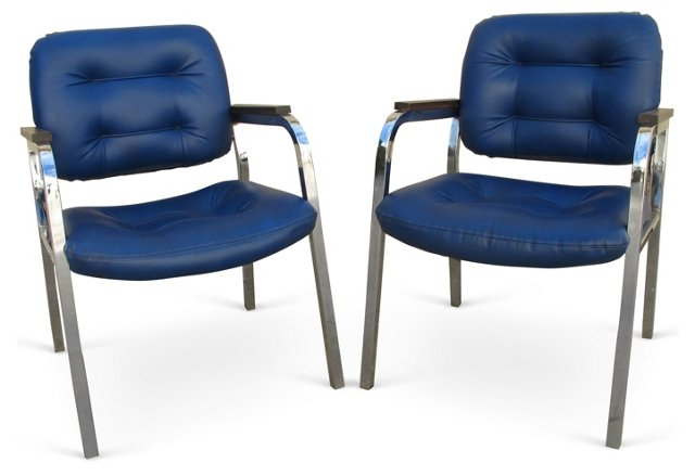 Chrome & Faux-Leather Armchairs, Pair